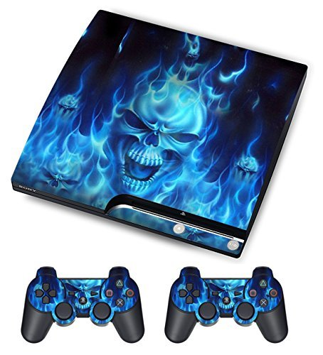 gamesdur skin for sony ps3 slim console system plus two 2 decals